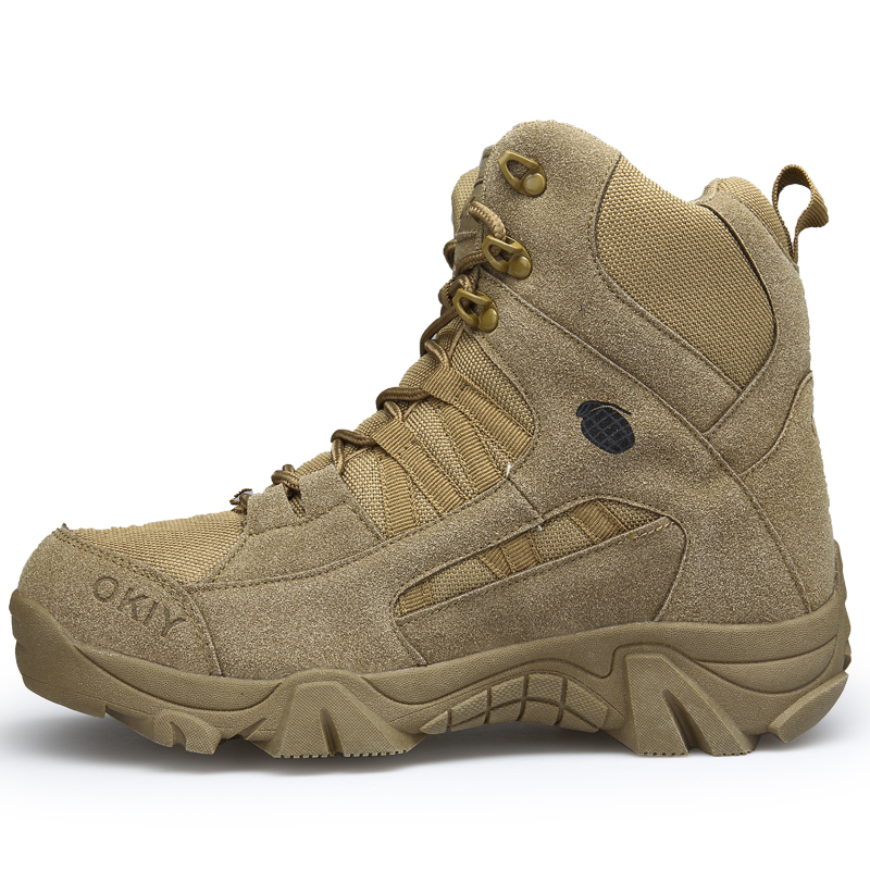 77c43299ae7 Aliexpress.com : Buy Men Boots Autumn Winter Military Tactical Boots Men  Desert Combat Boots Outdoor Leather Boots Waterproof Hiking Shoes Sneakers  ...