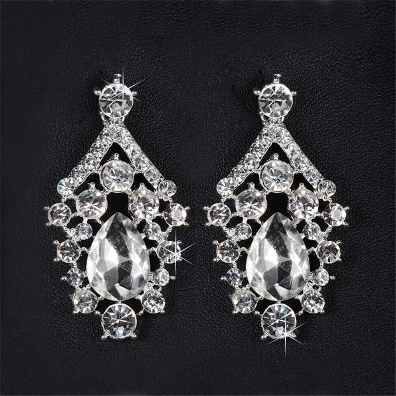 Ohrring und halskette sets glanz AAA zirkonia & österreichischen kristall hochzeit schmuck-sets für bräute mode elegante geschenk D022