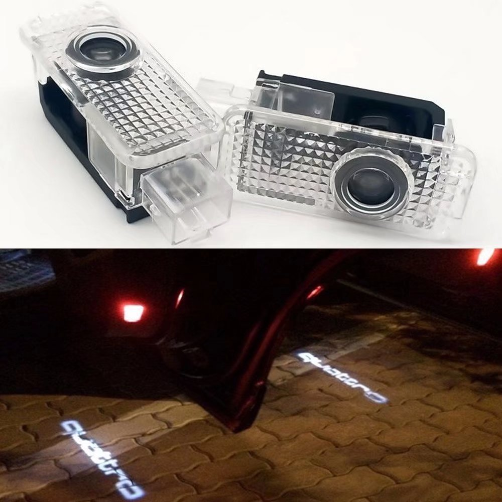 2X LED aser quattro Logo Door Step Courtesy Light Welcome Light Laser Shadow Logo Projector Lamp For Audi