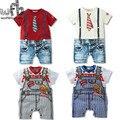 1-três anos curto-de Mangas Compridas de varejo shorts Jeans meninos calças Do Bebê calças Infantis meninos romper macacões Roupas babys roupas de verão