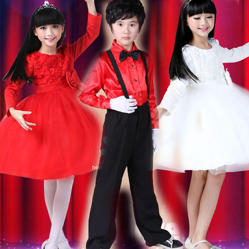 New style student performance costumes clothing long sleeve male children host performance clothing