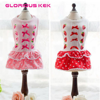 2015 Chihuahua Puppy XS Dog Dresses Pink Cute Strawberry Polka Dot Summer Dog Clothes Female Free