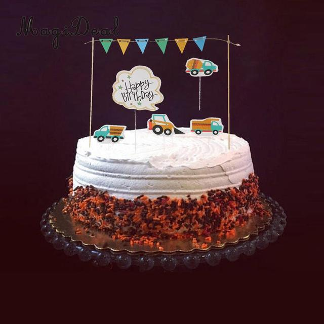 Happy Birthday Cake Topper Banner Vehicles Truck Digger Cake Picks