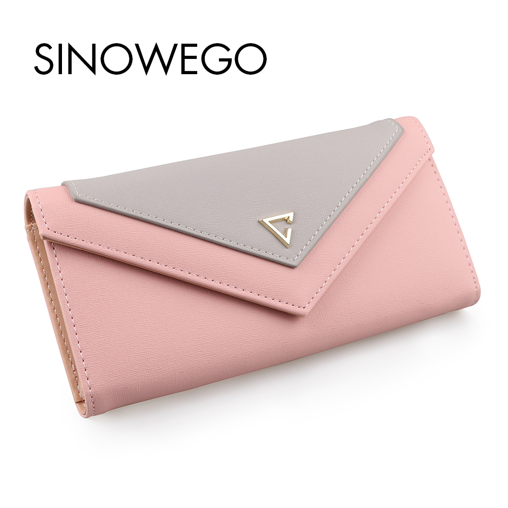 2018 New Fashion Elegant Women <font><b>Wallets</b></font> Luxury Brand Famous Designer <font><b>Wallet</b></font> Female Geometric Concise Card Holder Women Purse Long