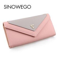 2018 New Fashion Elegant Women Wallets Luxury Brand Famous Designer Wallet Female Geometric Concise Card Holder Women Purse Long