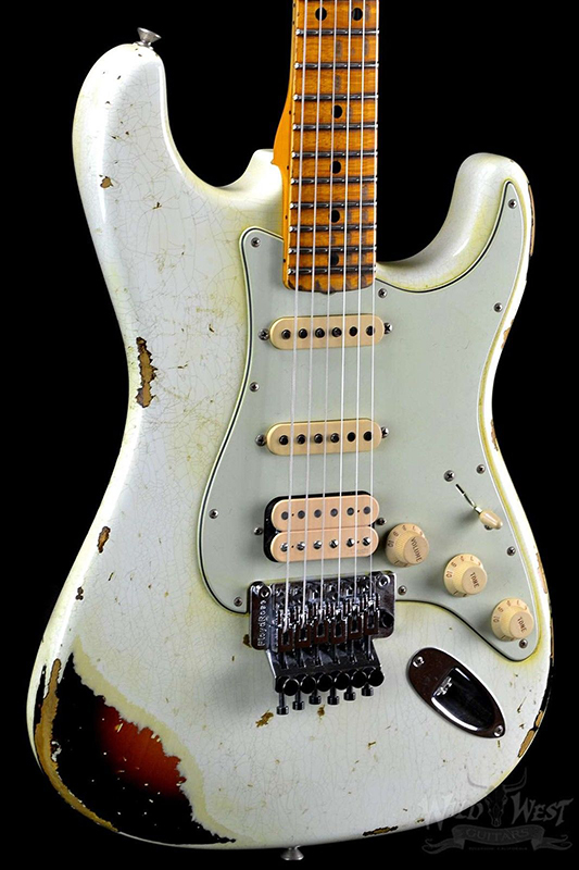 Floyd Rose tremolo ST Handwork Aged Relic Electric Guitar with Ash Body in White Color