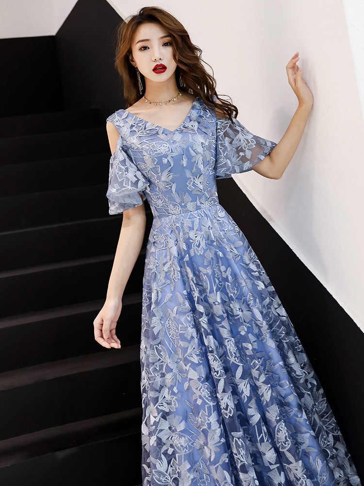 Gri Mavi Çin Oriental V Yaka Tam Boy Düğün Kadın Seksi Cheongsam Akşam Elbise Zarif Prenses Elbise Modern Qipao