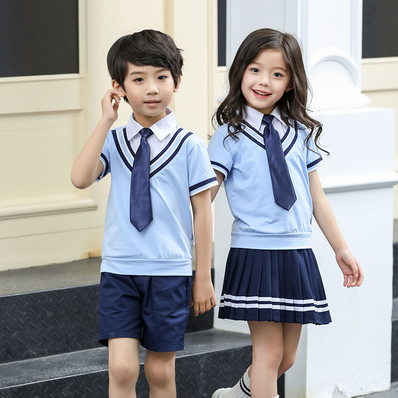 Summer Kids Clothes Sets Boys Girls Stripe Short Sleeve Fake Shirts +Shorts Skirts Children School Uniform Performance Clothes kids stripe outfits for teenage girls long sleeve clothes sets girls school shirts
