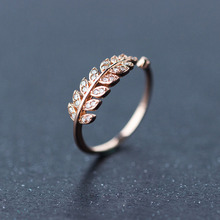 цена на Rose gold/Silver S925 Sterling Silver Rhinestones Leaf Rings For Women Adjustable Cute 925 Silver Ring Female anillos mujer