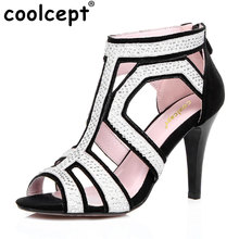 Coolcept women real leather fretwork red bottom peep toe high heel sandals sexy fashion brand lady heeled shoes size 30-45 R6918