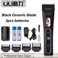 Profesional Hair Trimmer Negro De Cerámica Cuchilla Cortadora de Cabello Eléctrica Máquina De Corte Extra de Batería de carga rápida