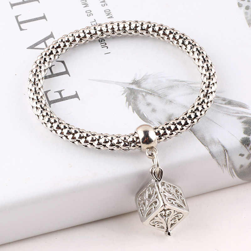 Men's Women's Bracelet Owl Telescopic Elastic Popcorn Chain Feminine Charm Bangles Pulseira Feminina Boys and Girls Jewelry DIY