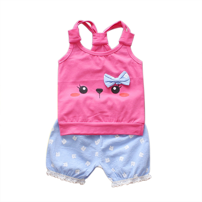 New Summer Baby Girl Set Cute Cartoon Cat Camisole + Blue Shorts Set Fashion Comfortable Baby Children Clothes
