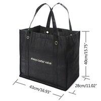 2 шт. большой ёмкость сумка-шоппер многоразовые эко путешествия сумки бакалея складной бытовые продукты сумка Tote черный для для женщин