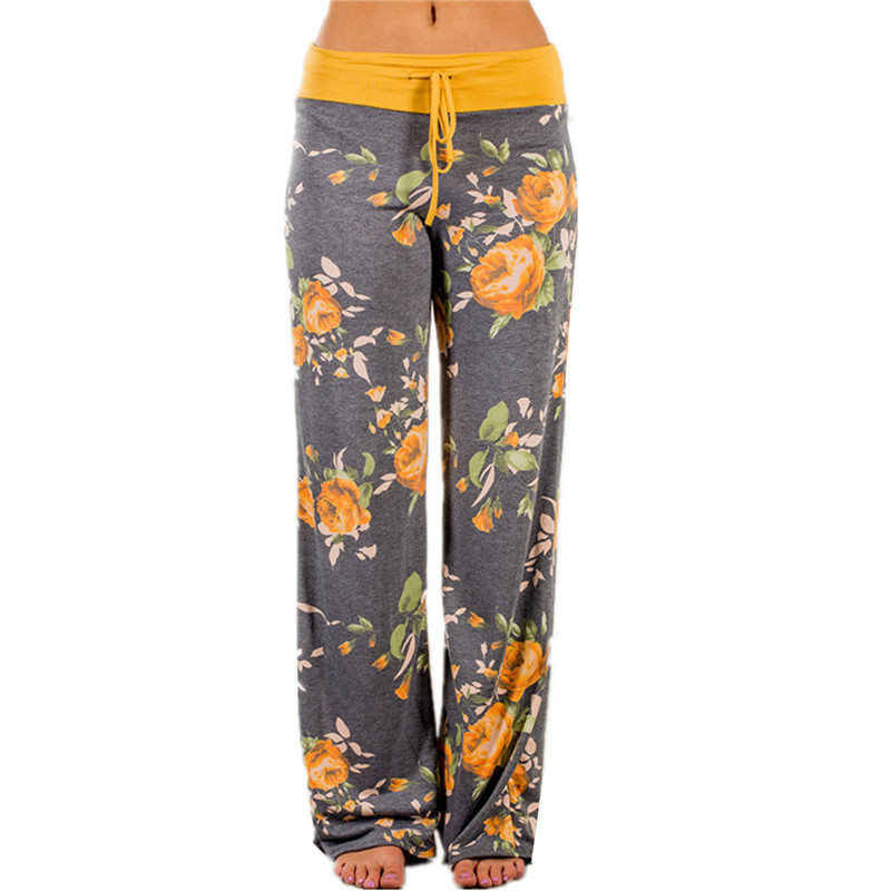 Plus Size 2018 Floral Prined   Wide     Leg     Pants   Autumn Loose Casual   Pants   Long Trousers Drawstring Flowers   Pants   Women Trouser GV758