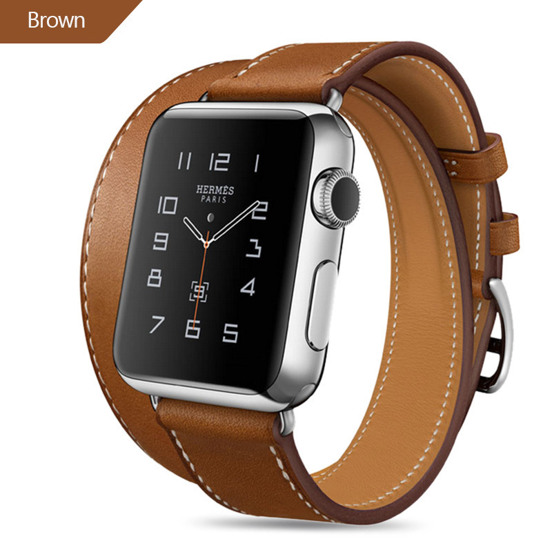 New 44mm Genuine Leather Band For Apple Watch Series 4 3 2 1 Double Tour Bracelet Leather Strap Watchband 38mm Sport 42mm Woman