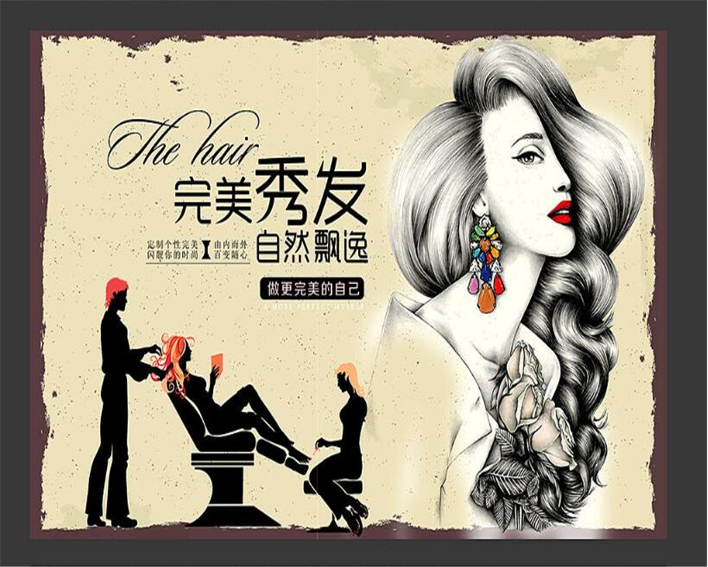 Beibehang Simple Fashion Personality 3d Wallpaper Beauty Salon Background Barber Shop Nostalgic Retro Makeup Wall Paper Tapety 3d Wallpaper Fashion Wall Paperwall Paper Aliexpress