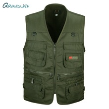 Grandwish Mens Cotton Coat Collarless Vests New Brand Multi Pockets Male Vests Sleeveless Protection Camouflage Cargo Vest,DA843