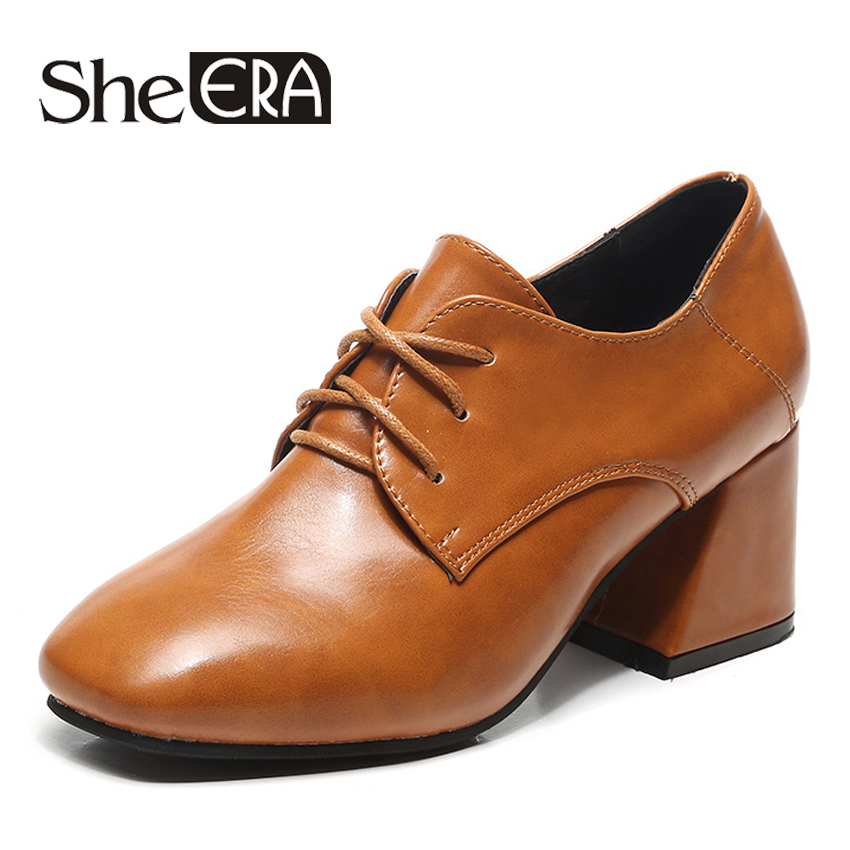 She ERA New Fashion Women Oxfords Lacing up Pointed Toe Thick Heel Women Pumps Female British Style High Heels Oxfords Shoes