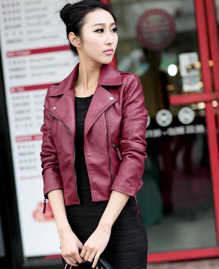 Baru Musim Semi Wanita Jaket Kulit Merah Hitam PU Ditambah Ukuran Jaket Kulit Sepeda Motor Jaket Mantel Ramping Kasual