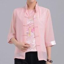 Gran oferta Camisa de satén de seda para mujer china Vintage rosa blusa bordada superior 2 piezas Mujeres Camisetas talla S M L XL XXL XXXL Mny-011B