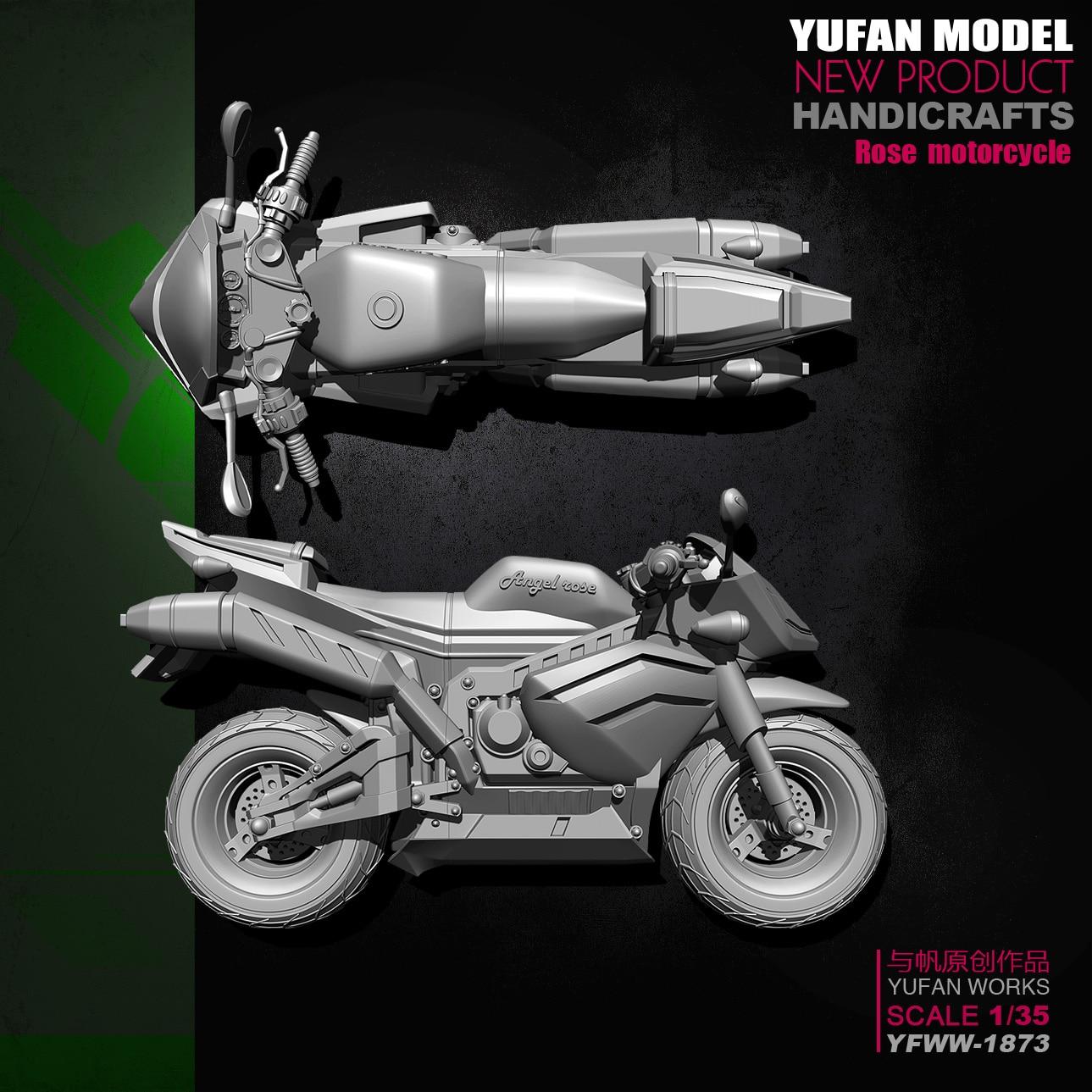 Yufan Model 1/35 Model Kit Resin Soldier motorcycle Model Yfww 1873