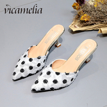 Vicamelia 2019 Summer Vogue Lady Mules Slides Women Thin High Heel Slippers Polka Dot Slides Women Casual Pumps Shoes 309 prova perfetto popular mesh polka dot slippers women sandal pointed toe kitten heel butterfly knot slides summer lady mules shoe