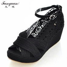2016 New Arrivals Cutout Lace Sweet Women Sandals Ladies Ruffles Ankle Buckle Strap Wedge Summer Shoes Black Beige