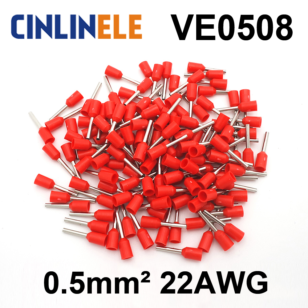 50pcs/lot Crimp Terminal  VE0508  tube pre insulating terminal Bootlace Ferrules  AWG22 0.5mm^2 Brass