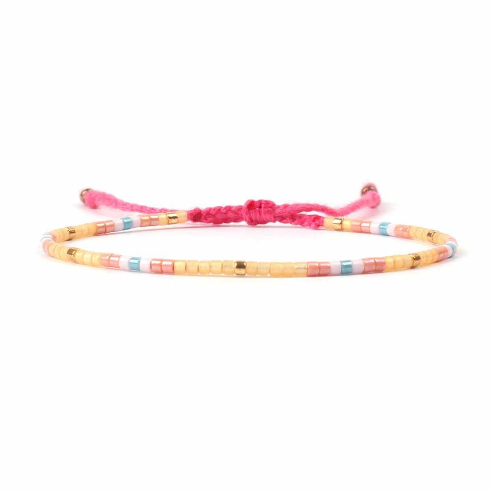 Czeski bransoletki dla kobiet MIYUKI Tila koraliki bransoletka Boho kolorowe Pulseira Mujer regulowana biżuteria moda prezent nowy