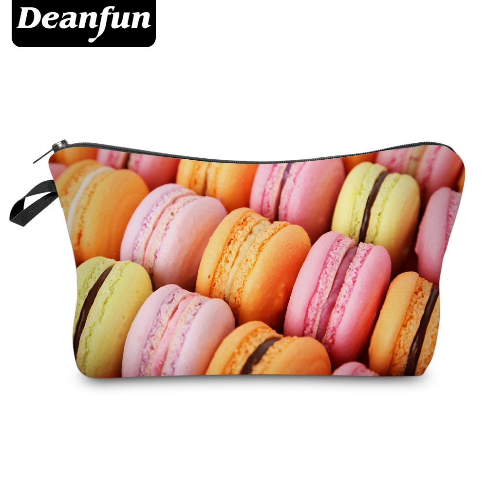 Deanfun 3D Printed Cosmetic Bag Macaroon Zipper Polyester Travel Organizer Necessary For Womens Makeup Girls Gift 18-22cm 50786