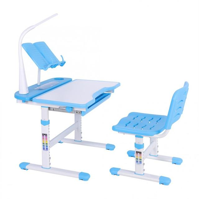 Study Table for Kids Protect Eyesight Adjustable Height Childrens Desk and Comfortable Chair Set with Lamp Kids Furniture