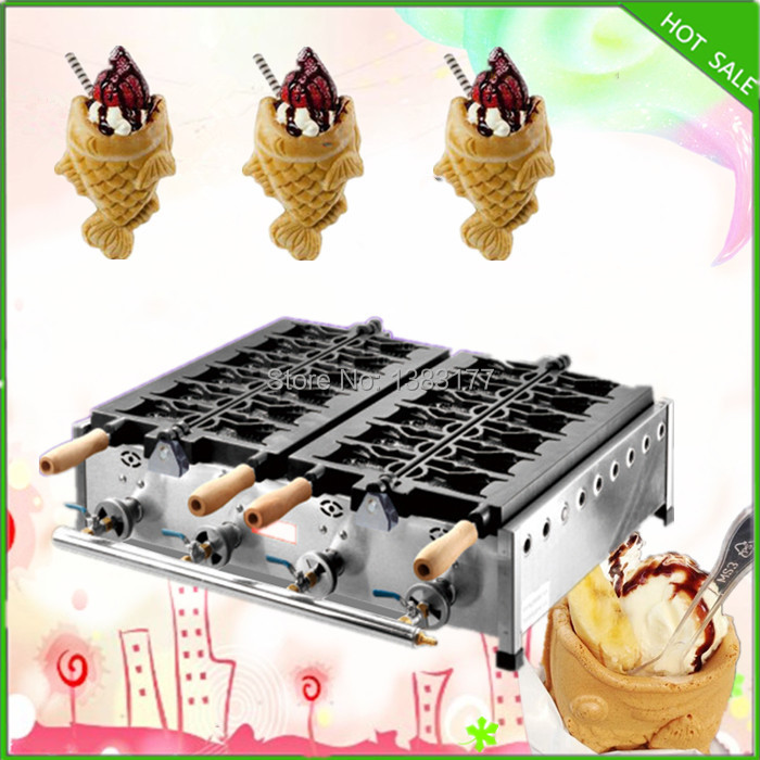 free shipping gas model 2 plate 10pcs per time LGP ice cream taiyaki machine open mouth taiyaki machine