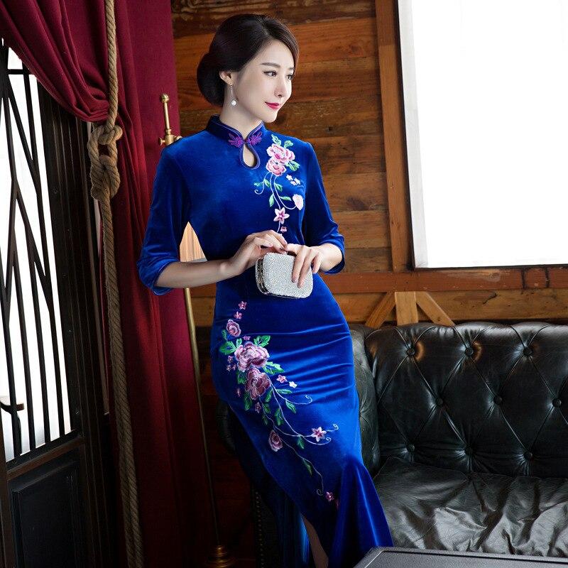 e5903f6aa81338 € 45.01 25% de réduction|Mode 2018 velours Cheongsam longue Qipao Robe  traditionnelle chinoise robes chine magasin de vêtements Robe Orientale ...