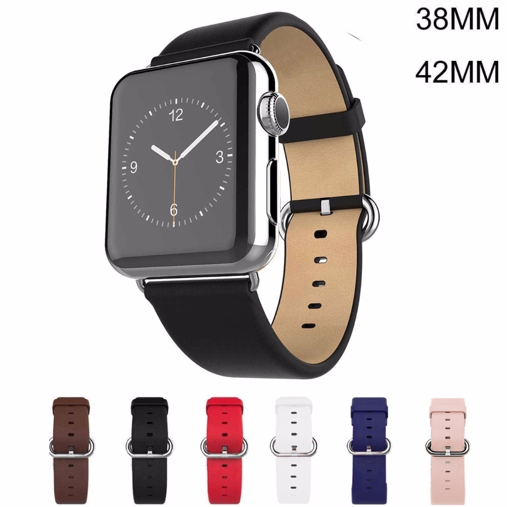 6 Colors Luxury Genuine Leather Watchband for Apple Watch Sport  iWatch 38mm/42mm Watch Wrist Strap Bracelect Replacement 6 colors luxury genuine leather watchband for apple watch sport iwatch 38mm 42mm watch wrist strap bracelect replacement