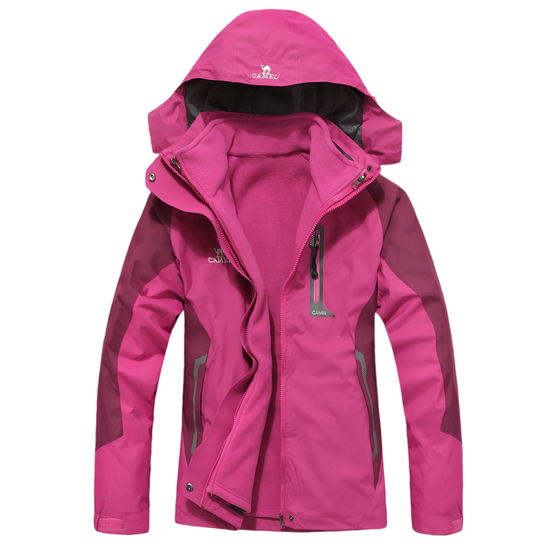 ФОТО Outdoor jacket Women camel hiking clothing 3-in-1 twinset fleece liner windproof thermal female  =YcfW5