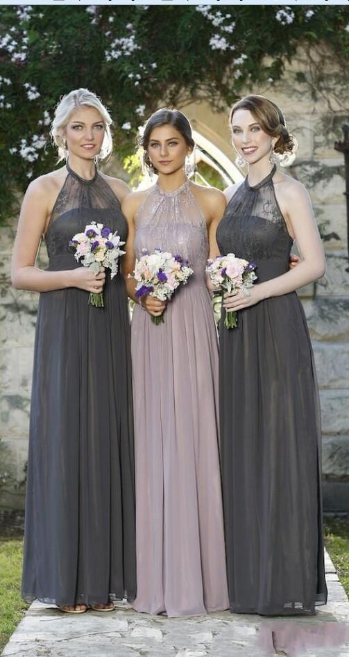 2017 Grey Pink Navy Blue Lace Bridesmaid Dresses Halter Neck Chiffon Long Formal Bridesmaids Maid Of Honor In From Weddings