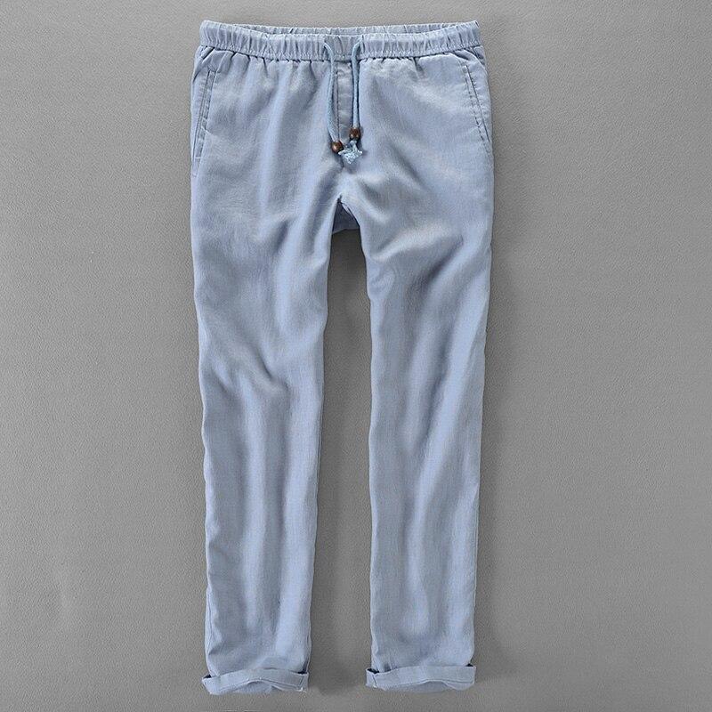 Russia brand long pants men linen fashion men trousers casual solid pants mens big size loose elastic trousers mens pantalon 40