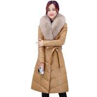2018 Для женщин из искусственного лисьего меховой воротник зима кожаная куртка женская Мода Толстые Искусственная кожа куртка Для женщин вни