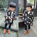 Мода мужская одежда куртки пальто осень зимняя куртка для ребенка дети случайно мультфильм геометрия молния с капюшоном с длинным пальто ребенок середине