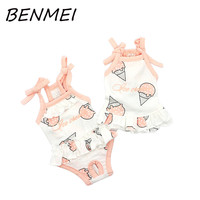 BENMEI Puppy Clothes Small Pet Dog Printing Ice Cream Clothes For Girls Summer Cotton Dress Dog