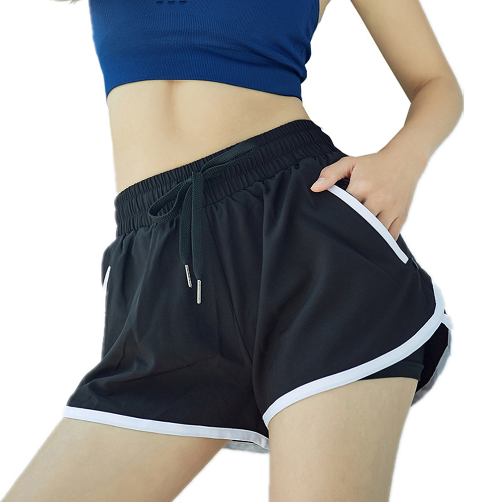 Blue Black Solid Pokect High Waist Elastic Waist Shorts Summer Women Lace up Fake Two-piece Sports Running Gym Workout Shorts(China)