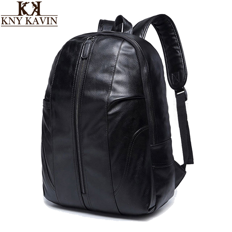 KNY KAVIN Men Leather Backpack Fashion Design Women School Bag Shoulder Bag for Men's Laptop Notebook Backpack High Quality lowepro protactic 450 aw backpack rain professional slr for two cameras bag shoulder camera bag dslr 15 inch laptop