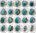 MW-14 Wholesale Nepal India Handmade 925 Sterling Silver inlay Natural Turquoise Ring,Mix order