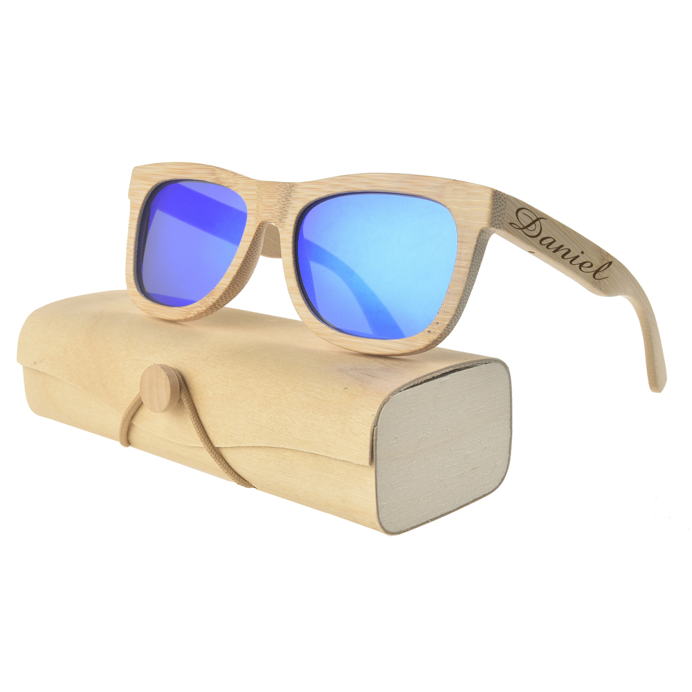 Personalizado gravado bambu óculos de sol de madeira óculos de sol personalizados com caixa caso presente de casamento favores padrinhos presente de festa de noiva