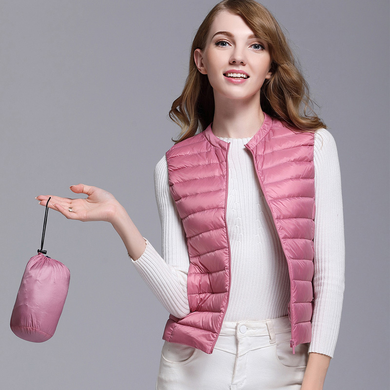 2017New Autumn Women 90 White Duck Down Vest Ultra Light Down Vest Jacket Winter Round Collar