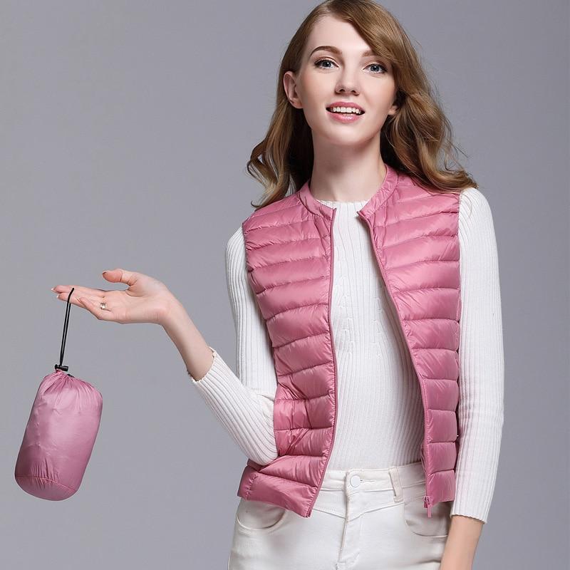 New Autumn Women White Duck Down Vest Ultra Light Down Vest Jacket Winter Round Collar Peter Pan Slim Sleeveless Coat