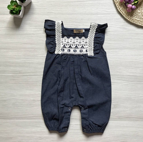 Pudcoco Newborn Kid Jumpsuit Baby Girls 2017 Lace Denim Harem Pants Children Romper Clothes Trousers 0-18M