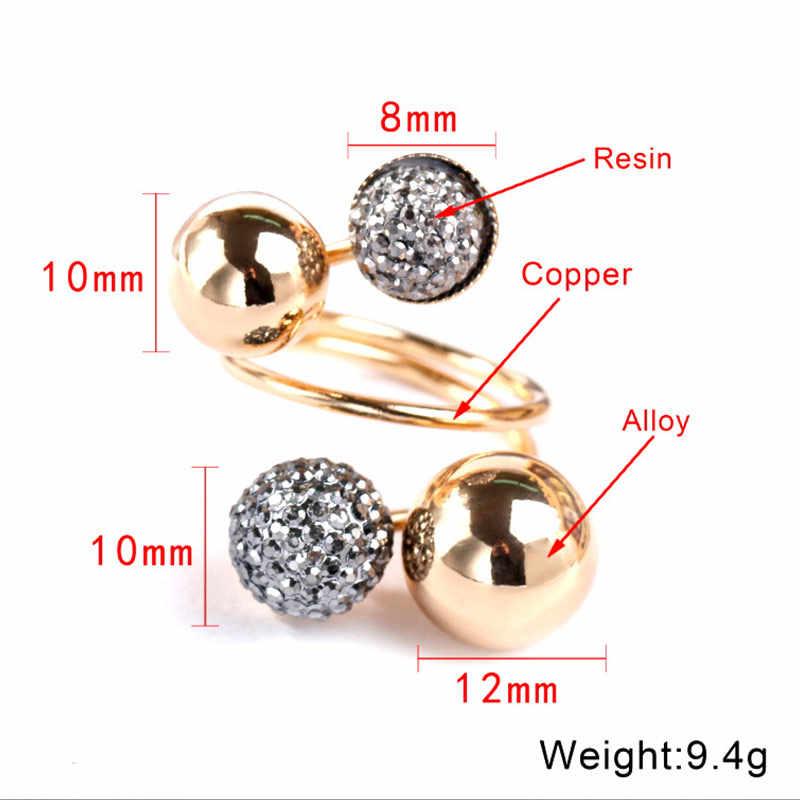 Feminino exquesite preto punk cristal 1 pc aberto único dedo midi anéis abertura ouro strass anéis ajustáveis