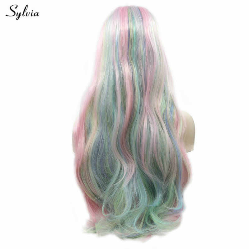 Sylvia High Temperature Long Body Wave Hair Pastel Blue Green/Baby Pink Synthetic Lace Front Wigs for Cosplay Party Holidays Wig